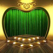 Rideau en tissu vert avec de l'or en concert — Photo