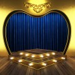 Blue fabric curtain with gold on stage — Stock Photo