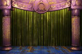 Green fabric curtain on stage — Stock Photo