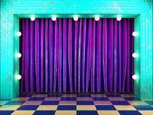 Violet fabric curtain on stage — ストック写真