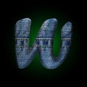 Vector jeans letter w — Stockvektor