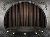 Fabric curtain on old stage — Stock Photo