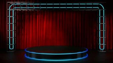 Luz de bucle en el escenario con luces de neón — Vídeo de Stock