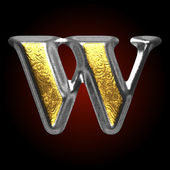 Vector silver and golden figure w — Stock Vector