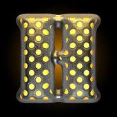 Vector metal with glow dots figure h — Stock Vector