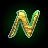 Vector golden and green letter n — Stock Vector