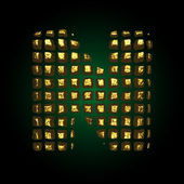 Vector golden letter n — Stock Vector