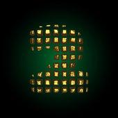 Vector golden letter 2 — Stock Vector