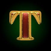 Kırmızı ahşap t ile vektör altın figür — Stok Vektör