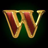 Figura de oro vector w madera roja — Vector de stock
