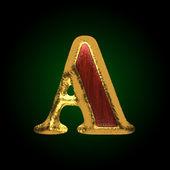 Figura de oro vector con madera roja un — Vector de stock