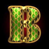 Vector golden and green letter b — Stock Vector