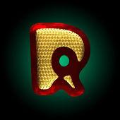 Vector velvet letter with gold r — Stock Vector