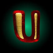 Vector velvet letter with gold u — Stock Vector