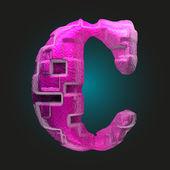 Vector pink plastic figure c — Stock Vector