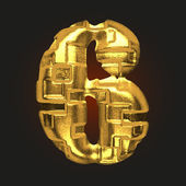 Vector golden letter 6 — Stock Vector