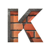 Vector brick cutted figure k. Paste to any background — Vettoriale Stock