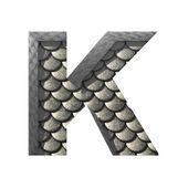 Pasta de plata Vector cutted figura k. cualquier fondo — Vector de stock