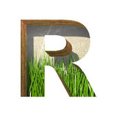 Vector grass cutted figure r. Paste to any background — Vettoriale Stock