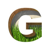 Vector grass cutted figure g. Paste to any background — Vettoriale Stock