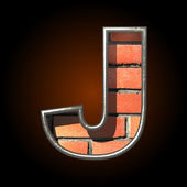Vector brick cutted figure j — Vector de stock