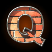 Vector brick cutted figure q — Stockvektor