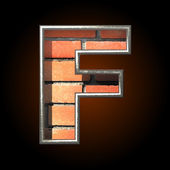 Vector brick cutted figure f — Stockvector
