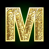 Vector golden cutted figure m — Stock Vector