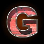 Vector oude metalen alfabet g — Stockvector