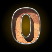Vector old metal letter 0 — Stock Vector
