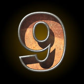 Vector old metal letter 9 — Stock Vector