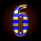 Vektor guld och blått brev 6 — Stockvektor
