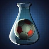 Football in Laboratory glassware on blue background — ストック写真
