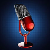 Retro microphone on blue background — Stock Photo