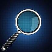 Magnifying Glass on blue background — Stock Photo