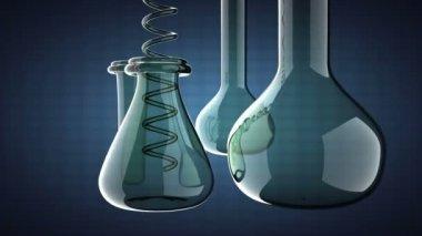 Loop Laboratory glassware on blue background — Stock Video