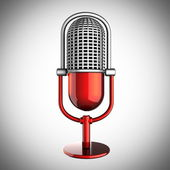 Retro microphone on gray background — Stock Photo