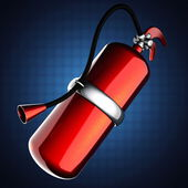 Metallic fire extinguisher — Stock Photo