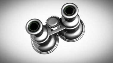 Loop rotate Retro binocular on gray background — 图库视频影像