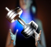 Metal dumbbell on hologram — Stock Photo