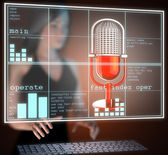Retro microphone on hologram — Stock Photo