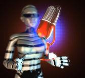Retro microphone on hologram — Stock Photo