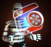 Cinema clap on hologram — Stock Photo