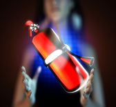 Metallic fire extinguisher on hologram — Stockfoto