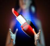 Rouge à lèvres rouge brillant sur l'hologramme — Photo
