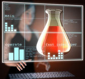 Laboratory glassware on hologram — Stockfoto