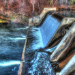 Colorful scenic waterfall and Dam in HDR - Stock Photo