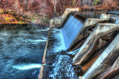 Colorful scenic waterfall and Dam in HDR — Stock Photo