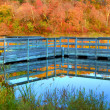 High Dynamic Range of a boat dock and fall colors — Stock Photo