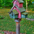 Large wooden Bird House on a 4x4 in High Dynamic Range — Stockfoto